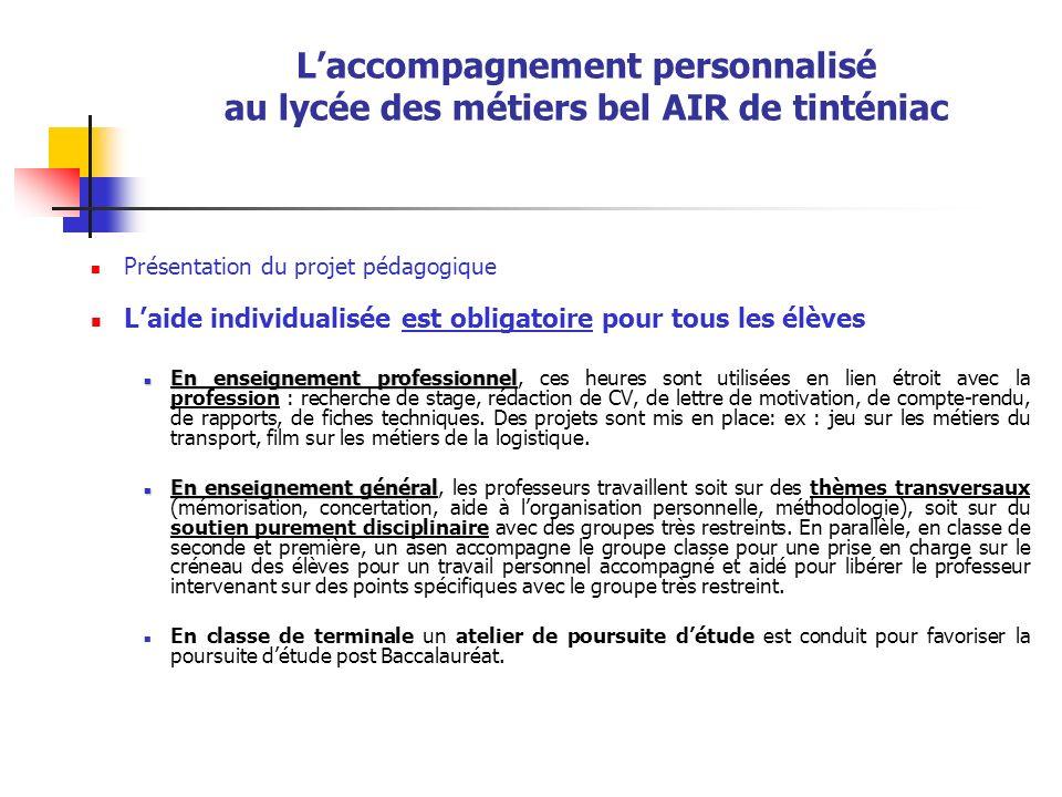 Laccompagnement personnalisé au lycée des métiers bel AIR de tinténiac Présentation du projet pédagogique Laide individualisée est obligatoire pour to