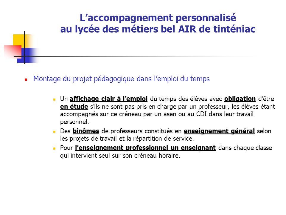 Laccompagnement personnalisé au lycée des métiers bel AIR de tinténiac Montage du projet pédagogique dans lemploi du temps affichage clair à lemploiob
