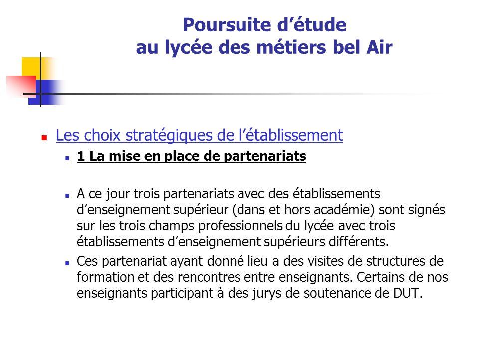 Poursuite détude au lycée des métiers bel Air Les choix stratégiques de létablissement 1 La mise en place de partenariats A ce jour trois partenariats