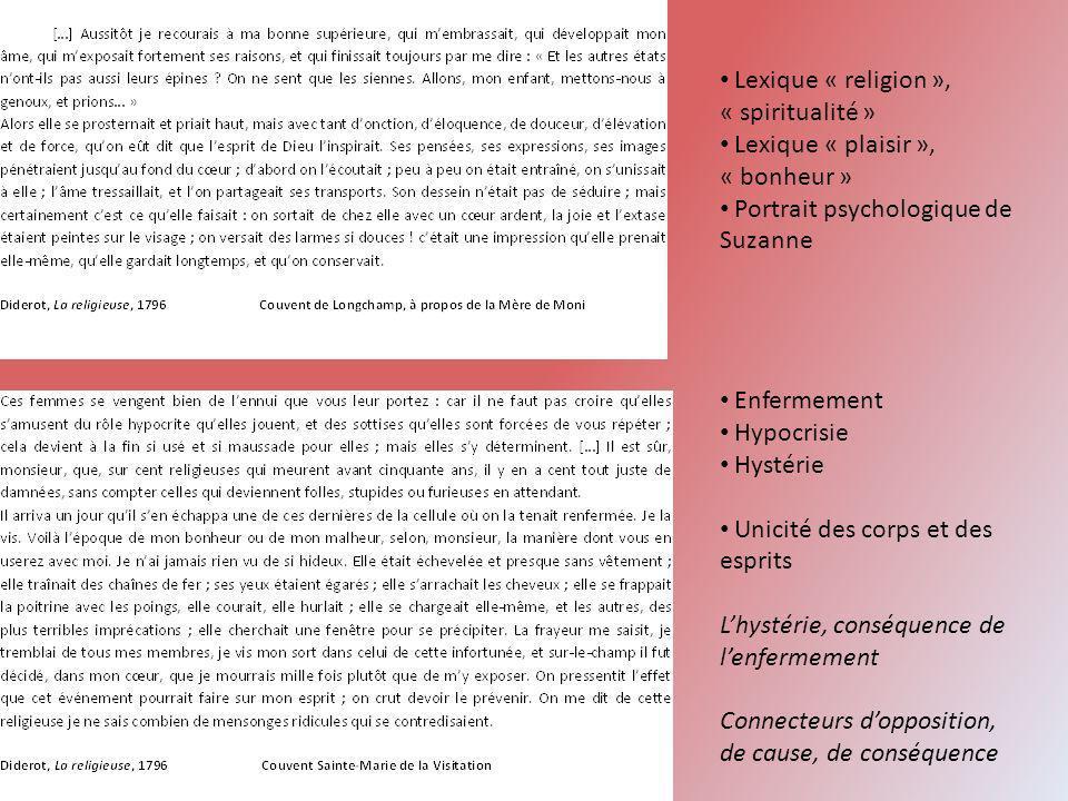 Lexique « religion », « spiritualité » Lexique « plaisir », « bonheur » Portrait psychologique de Suzanne Enfermement Hypocrisie Hystérie Unicité des
