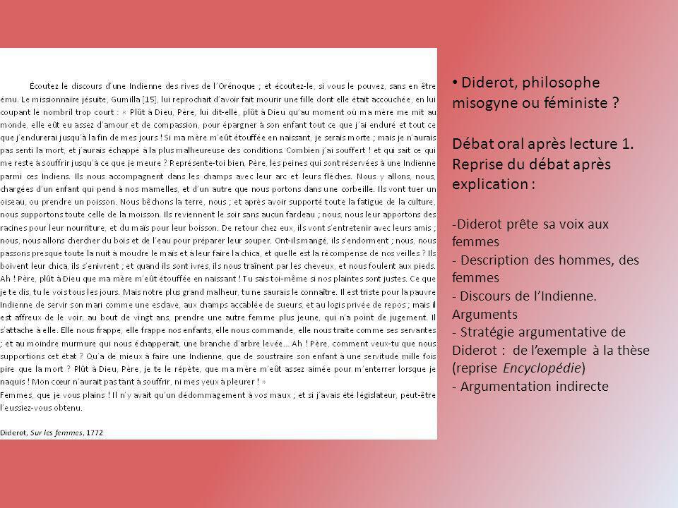 Diderot, philosophe misogyne ou féministe ? Débat oral après lecture 1. Reprise du débat après explication : -Diderot prête sa voix aux femmes - Descr