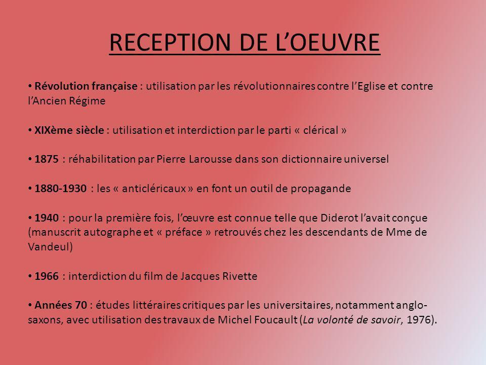 RECEPTION DE LOEUVRE Révolution française : utilisation par les révolutionnaires contre lEglise et contre lAncien Régime XIXème siècle : utilisation e
