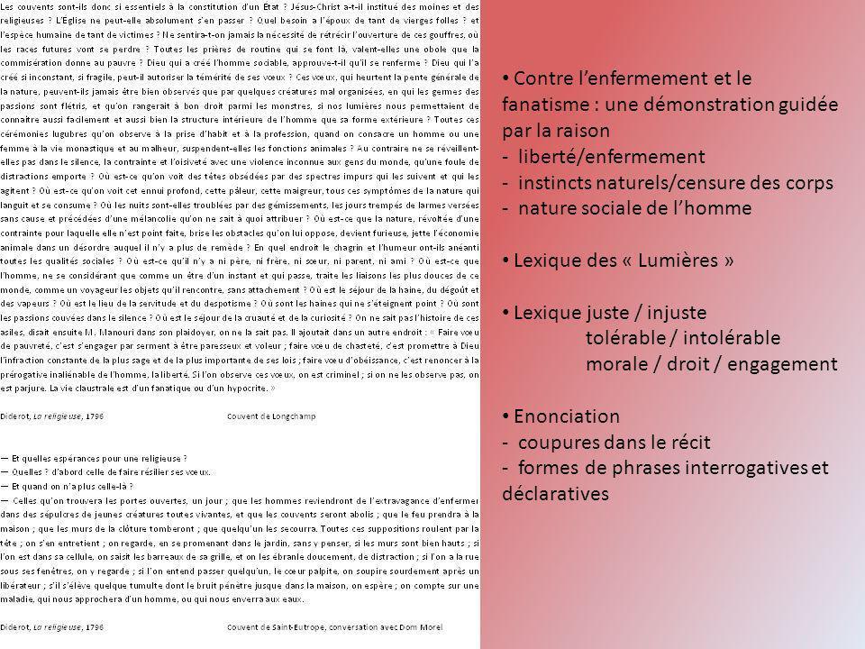 Contre lenfermement et le fanatisme : une démonstration guidée par la raison - liberté/enfermement - instincts naturels/censure des corps - nature soc
