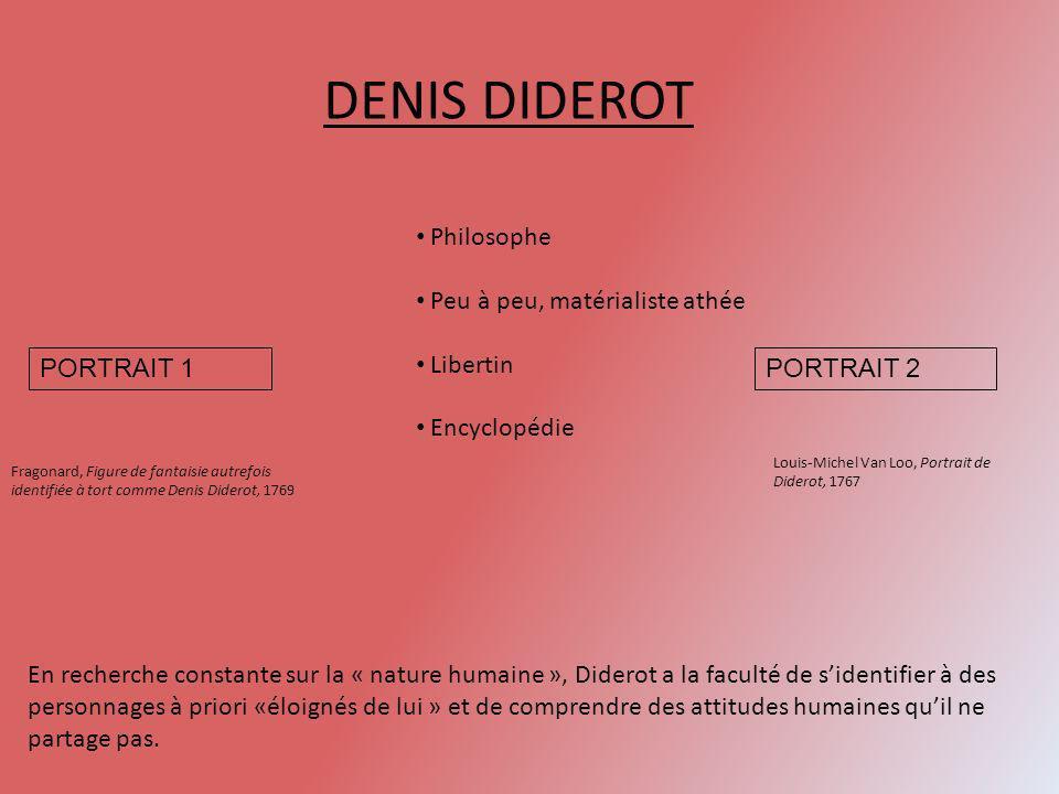 DENIS DIDEROT Fragonard, Figure de fantaisie autrefois identifiée à tort comme Denis Diderot, 1769 Louis-Michel Van Loo, Portrait de Diderot, 1767 Phi