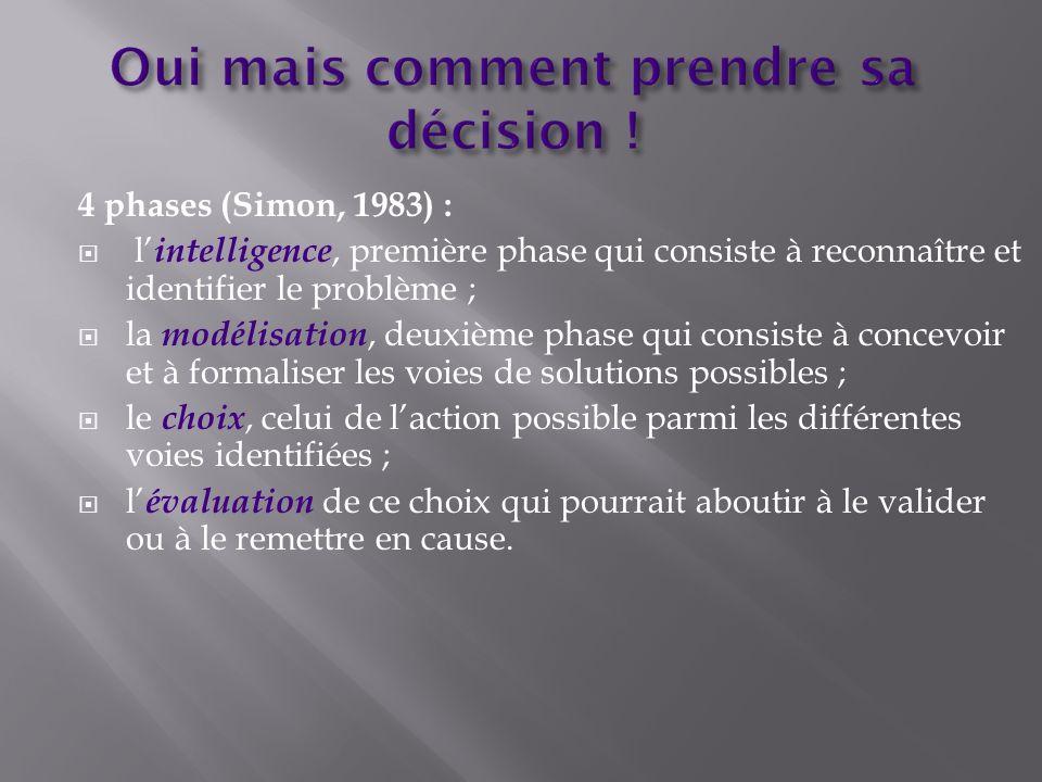 4 phases (Simon, 1983) : l intelligence, première phase qui consiste à reconnaître et identifier le problème ; la modélisation, deuxième phase qui con