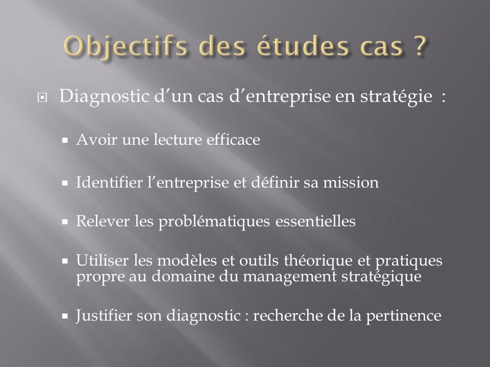 Diagnostic dun cas dentreprise en stratégie : Avoir une lecture efficace Identifier lentreprise et définir sa mission Relever les problématiques essen