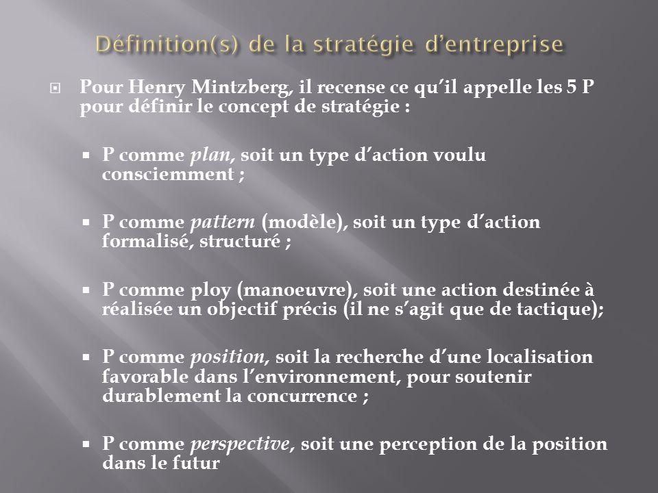 Pour Henry Mintzberg, il recense ce quil appelle les 5 P pour définir le concept de stratégie : P comme plan, soit un type daction voulu consciemment