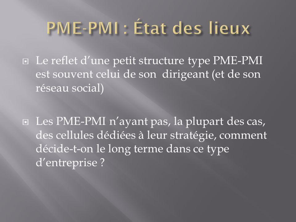 Le reflet dune petit structure type PME-PMI est souvent celui de son dirigeant (et de son réseau social) Les PME-PMI nayant pas, la plupart des cas, d