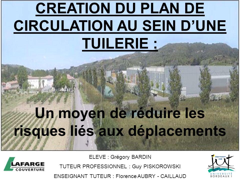 CREATION DU PLAN DE CIRCULATION AU SEIN DUNE TUILERIE : Un moyen de réduire les risques liés aux déplacements ELEVE : Grégory BARDIN TUTEUR PROFESSION