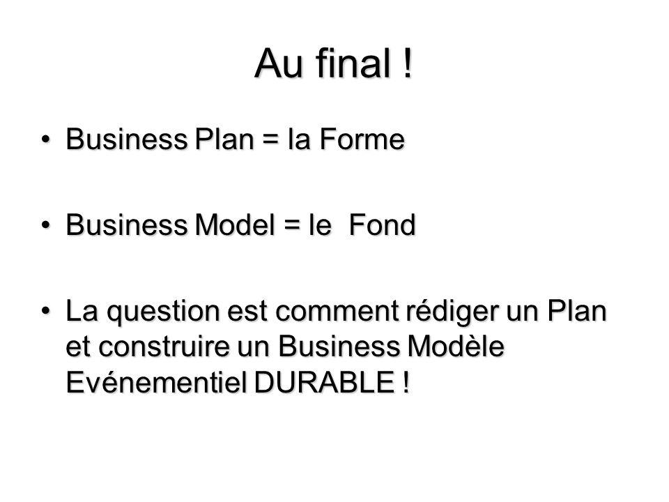 Au final ! Business Plan = la FormeBusiness Plan = la Forme Business Model = le FondBusiness Model = le Fond La question est comment rédiger un Plan e