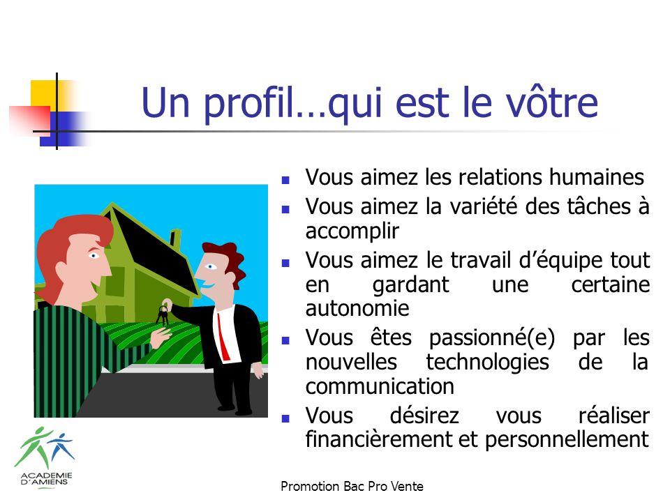 Promotion Bac Pro Vente Un profil…qui est le vôtre Vous aimez les relations humaines Vous aimez la variété des tâches à accomplir Vous aimez le travail déquipe tout en gardant une certaine autonomie Vous êtes passionné(e) par les nouvelles technologies de la communication Vous désirez vous réaliser financièrement et personnellement