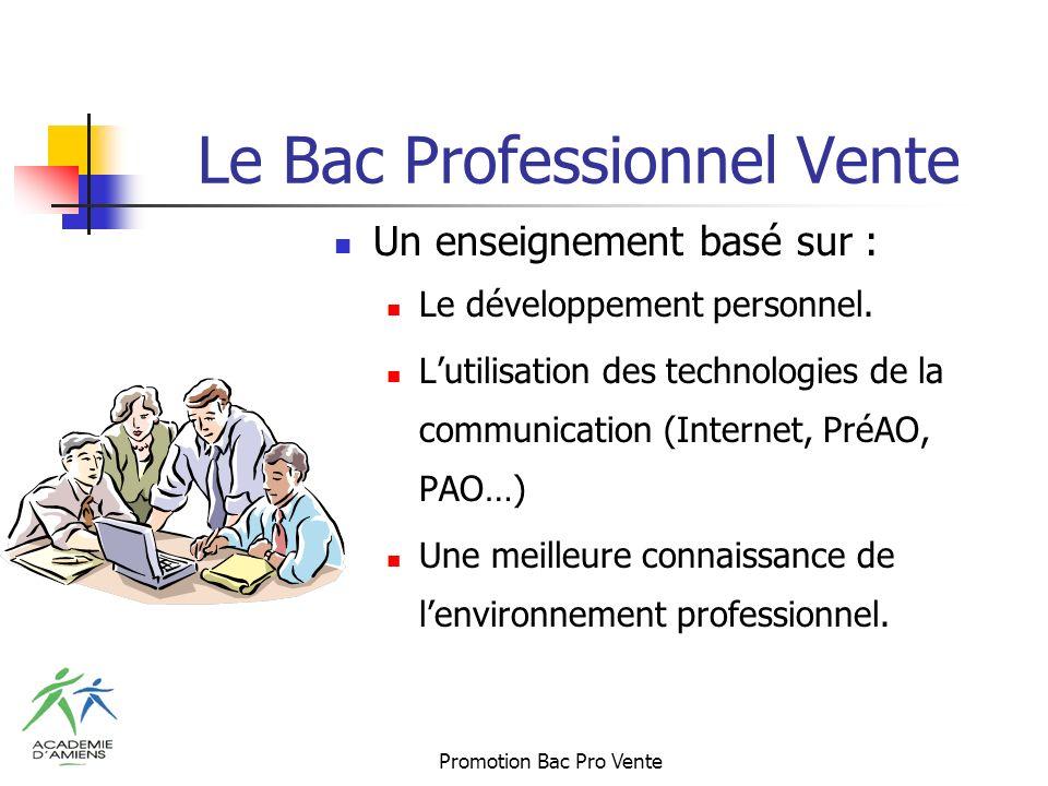 Promotion Bac Pro Vente Le Bac Professionnel Vente Un enseignement basé sur : Le développement personnel.