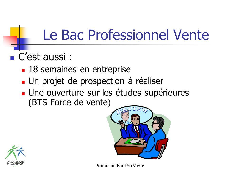 Promotion Bac Pro Vente Le Bac Professionnel Vente Cest aussi : 18 semaines en entreprise Un projet de prospection à réaliser Une ouverture sur les études supérieures (BTS Force de vente)