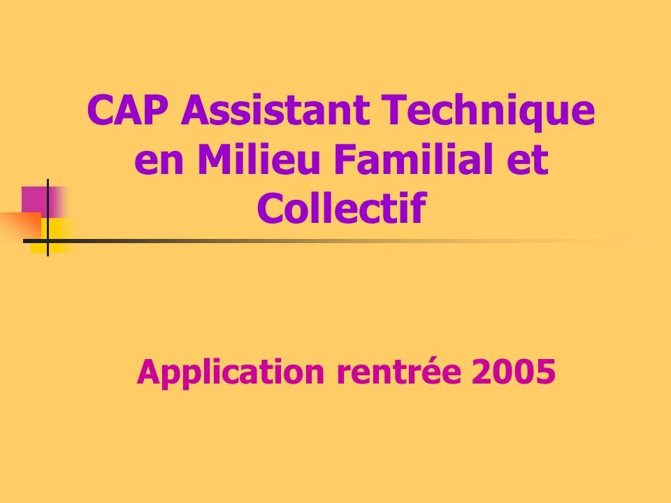 CAP Assistant Technique en Milieu Familial et Collectif Application rentrée 2005