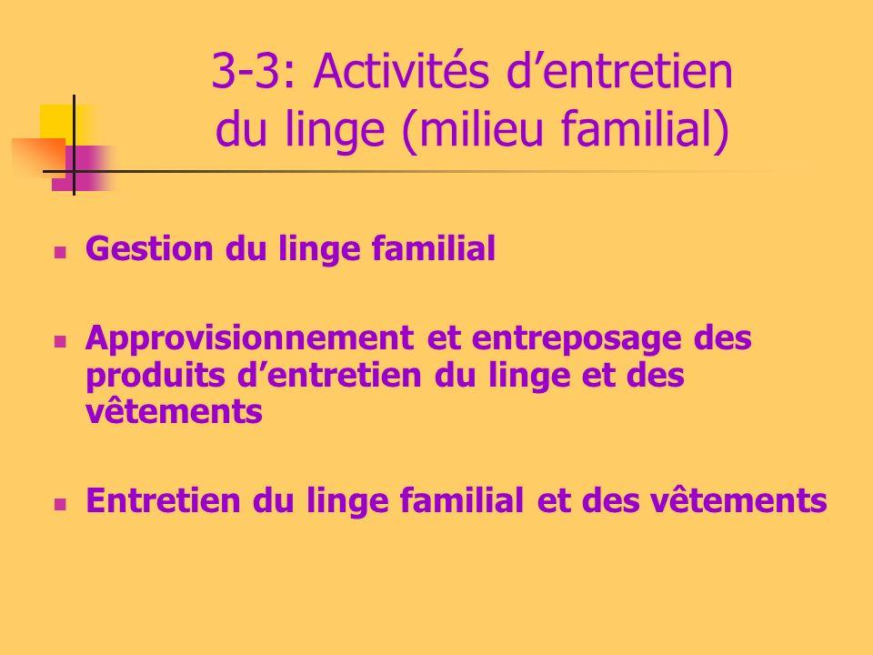 3-2: Activités dentretien du cadre de vie (milieu collectif) Gestion des matériels et des produits dentretien des locaux Entretien des espaces privés