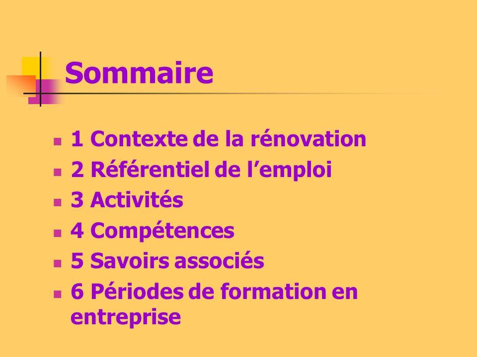 Sommaire 1 Contexte de la rénovation 2 Référentiel de lemploi 3 Activités 4 Compétences 5 Savoirs associés 6 Périodes de formation en entreprise