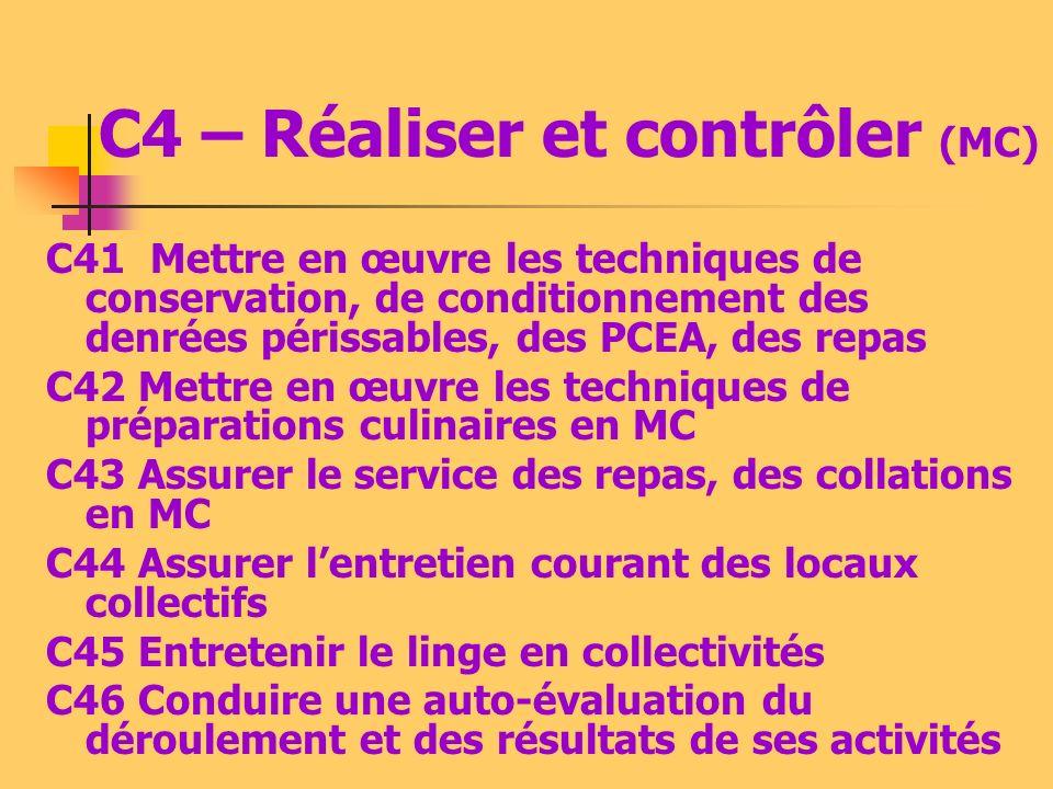 C4 – Réaliser et contrôler (MF) C41 Mettre en œuvre les techniques de conservation en milieu familial (MF) C42 Préparer tout ou partie dun repas, dune