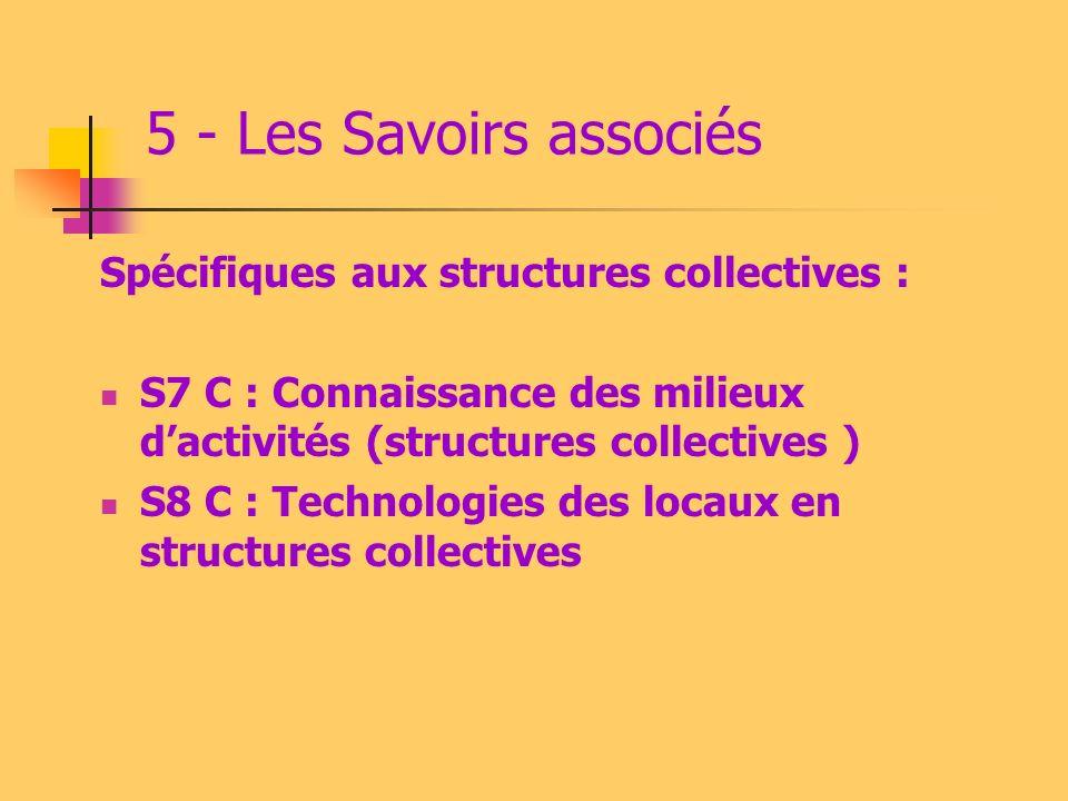 5 - Les Savoirs associés Spécifiques au domicile familial: S7 F : Connaissance des milieux dactivités (domicile privé des personnes) S8 F : Technologi