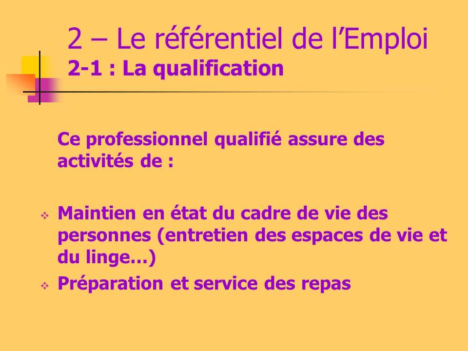 2 – Le référentiel de lEmploi 2-1 : La qualification Ce professionnel qualifié assure des activités de : Maintien en état du cadre de vie des personnes (entretien des espaces de vie et du linge…) Préparation et service des repas