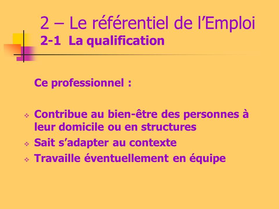 2 – Le référentiel de lEmploi 2-1 : La qualification Ce professionnel qualifié assure des activités de : Maintien en état du cadre de vie des personne
