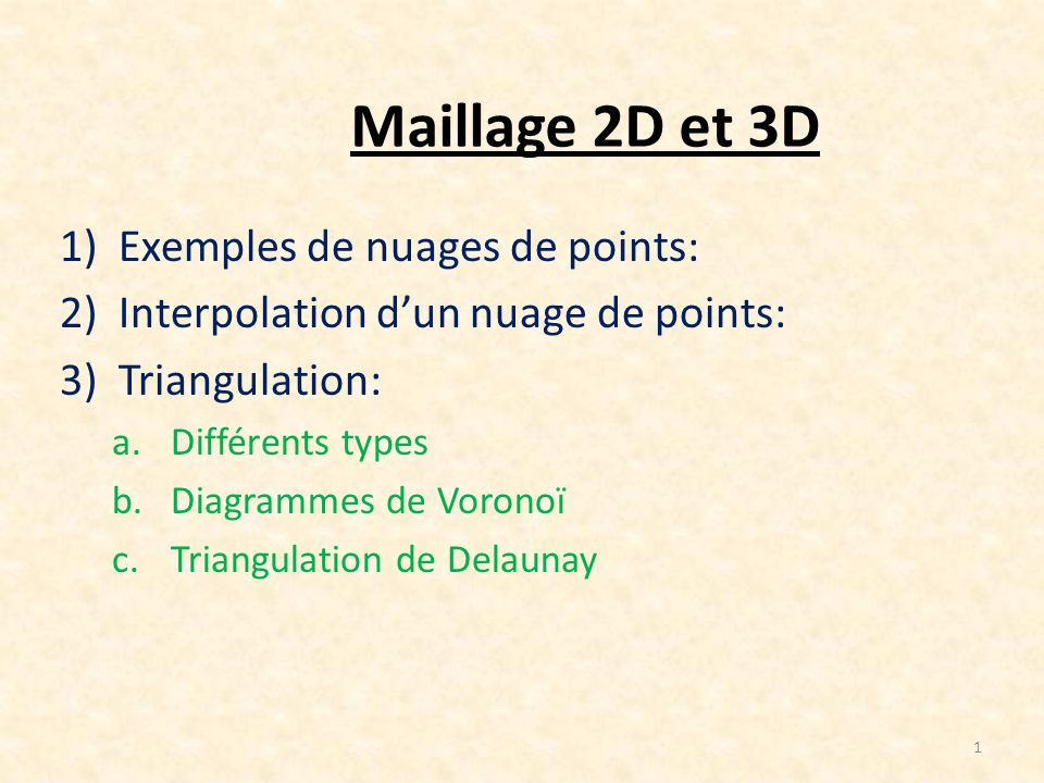 Maillage 2D et 3D 1)Exemples de nuages de points: 2)Interpolation dun nuage de points: 3)Triangulation: a.Différents types b.Diagrammes de Voronoï c.T