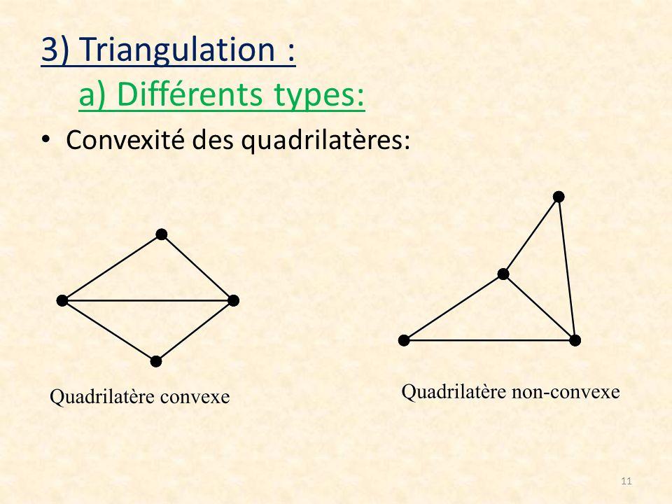 11 3) Triangulation : a) Différents types: Convexité des quadrilatères: