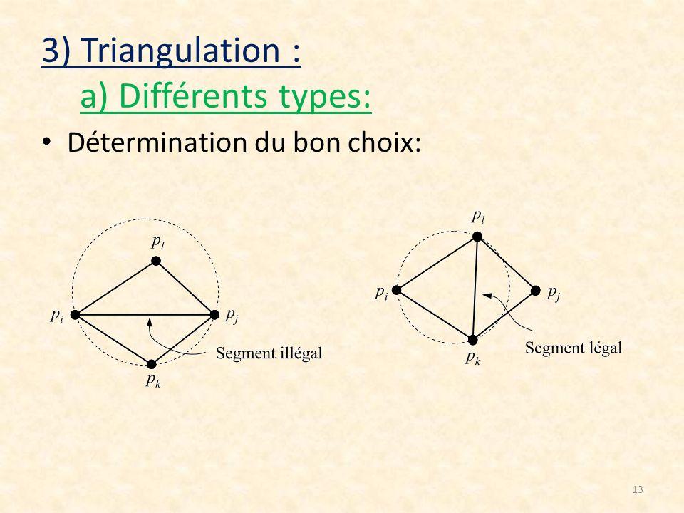 13 3) Triangulation : a) Différents types: Détermination du bon choix: