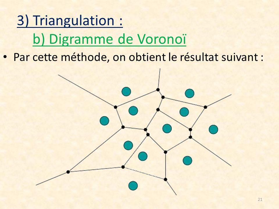 21 3) Triangulation : b) Digramme de Voronoï Par cette méthode, on obtient le résultat suivant :