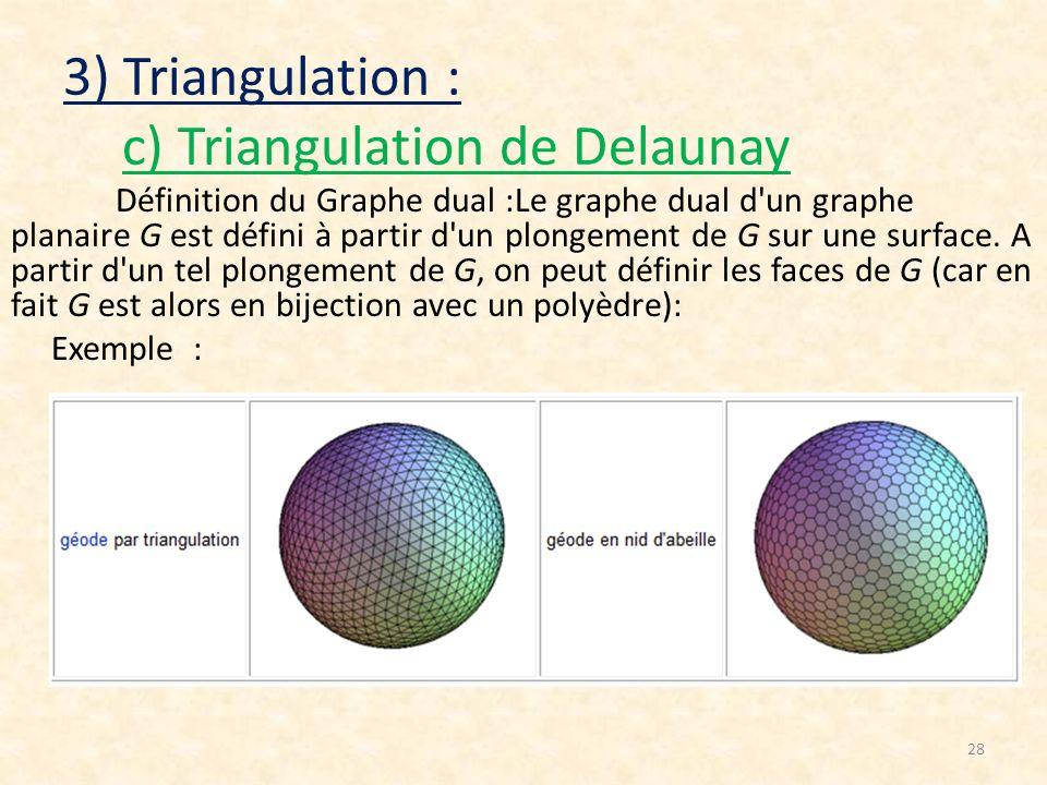 28 3) Triangulation : c) Triangulation de Delaunay Définition du Graphe dual :Le graphe dual d'un graphe planaire G est défini à partir d'un plongemen