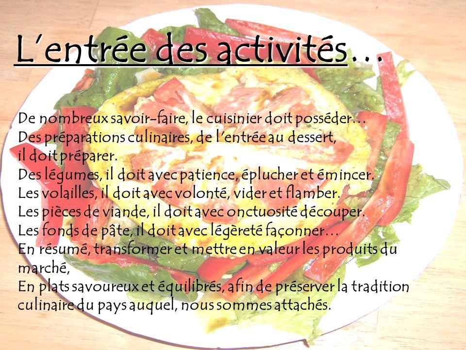 Lentrée des activités… De nombreux savoir-faire, le cuisinier doit posséder… Des préparations culinaires, de l'entrée au dessert, il doit préparer. De