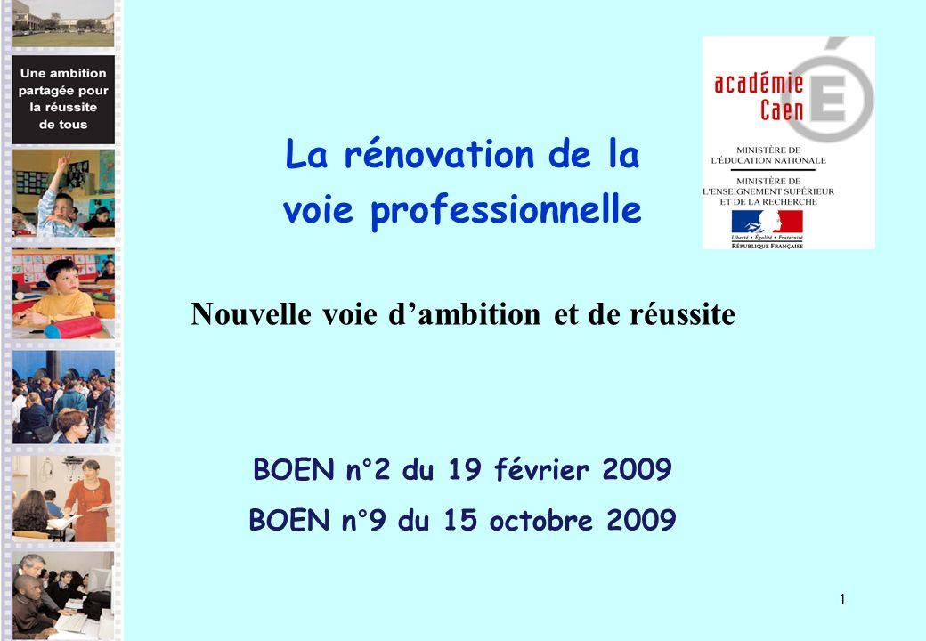 1 La rénovation de la voie professionnelle Nouvelle voie dambition et de réussite BOEN n°2 du 19 février 2009 BOEN n°9 du 15 octobre 2009