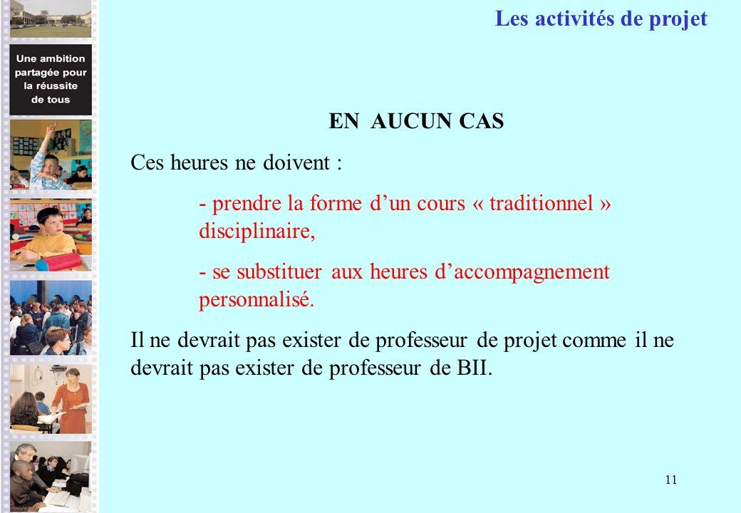 11 EN AUCUN CAS Ces heures ne doivent : - prendre la forme dun cours « traditionnel » disciplinaire, - se substituer aux heures daccompagnement person