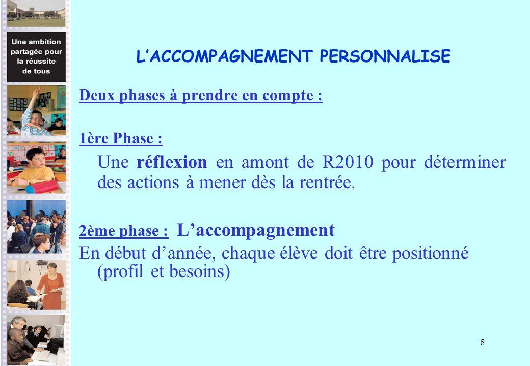 8 LACCOMPAGNEMENT PERSONNALISE Deux phases à prendre en compte : 1ère Phase : Une réflexion en amont de R2010 pour déterminer des actions à mener dès