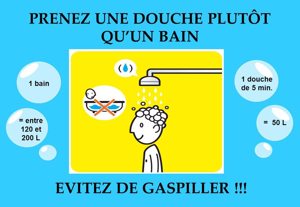 PRENEZ UNE DOUCHE PLUTÔT QUUN BAIN EVITEZ DE GASPILLER !!! 1 bain = entre 120 et 200 L 1 douche de 5 min. = 50 L