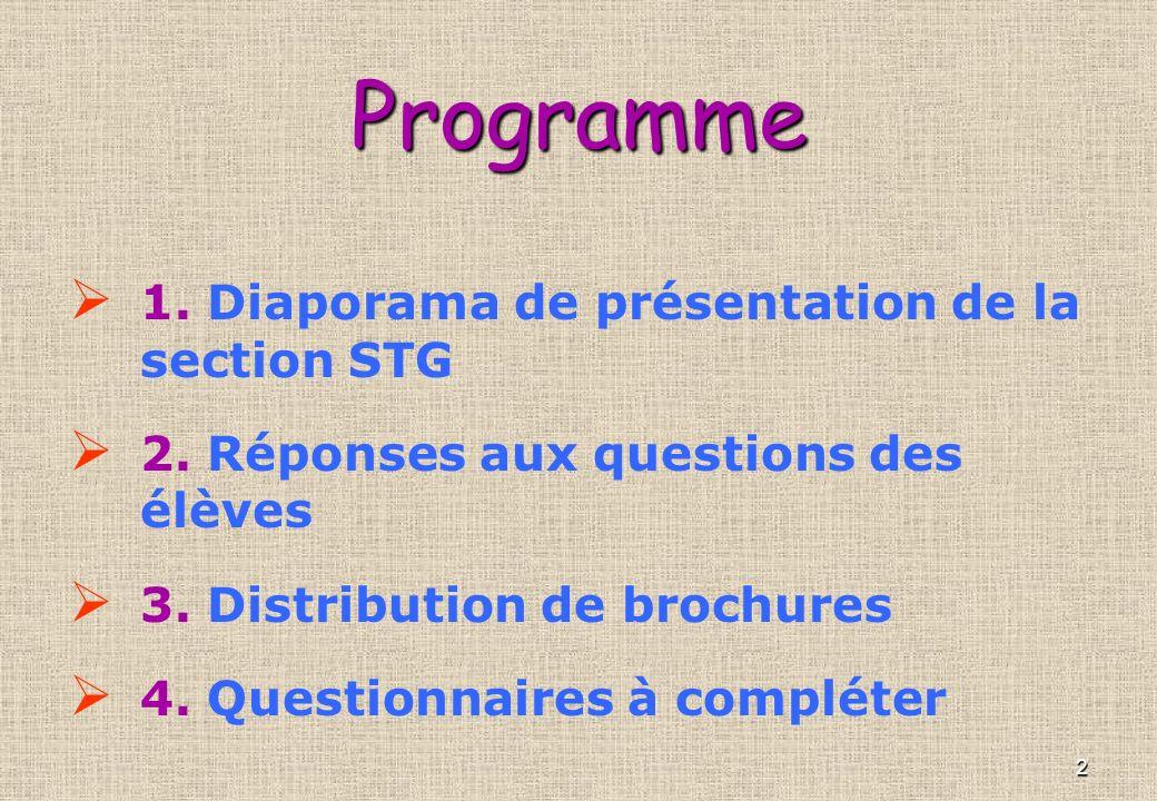 2Programme 1.Diaporama de présentation de la section STG 2.