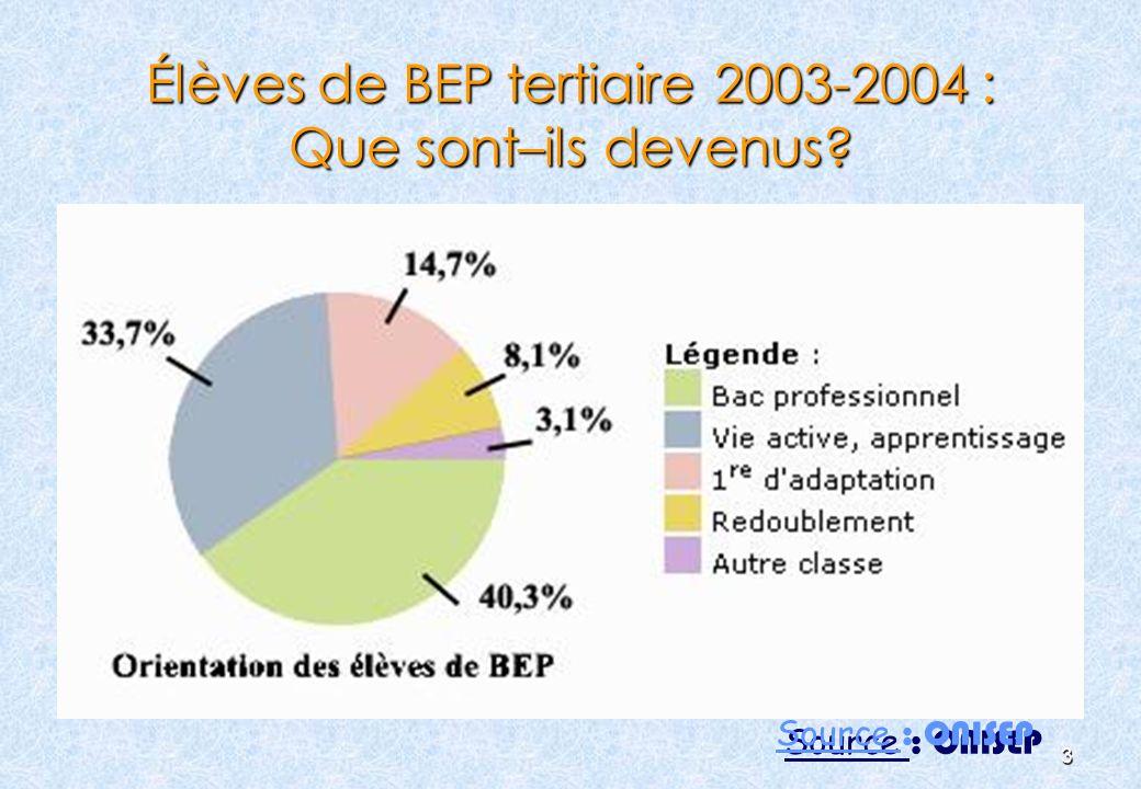 3 Élèves de BEP tertiaire 2003-2004 : Que sont–ils devenus? Source : ONISEP