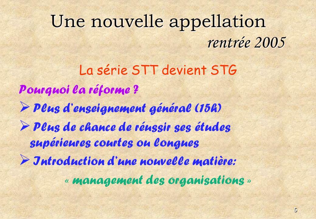 5 Une nouvelle appellation rentrée 2005 La série STT devient STG Pourquoi la réforme .