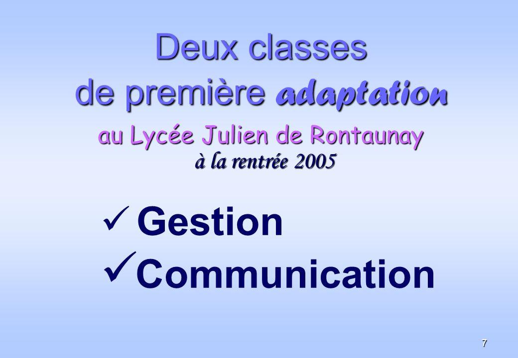 7 Deux classes de première adaptation au Lycée Julien de Rontaunay à la rentrée 2005 Gestion Communication