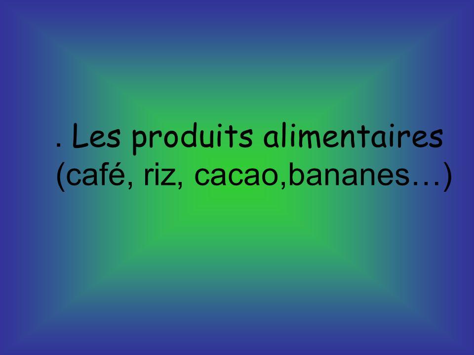 . Les produits alimentaires (café, riz, cacao,bananes…)
