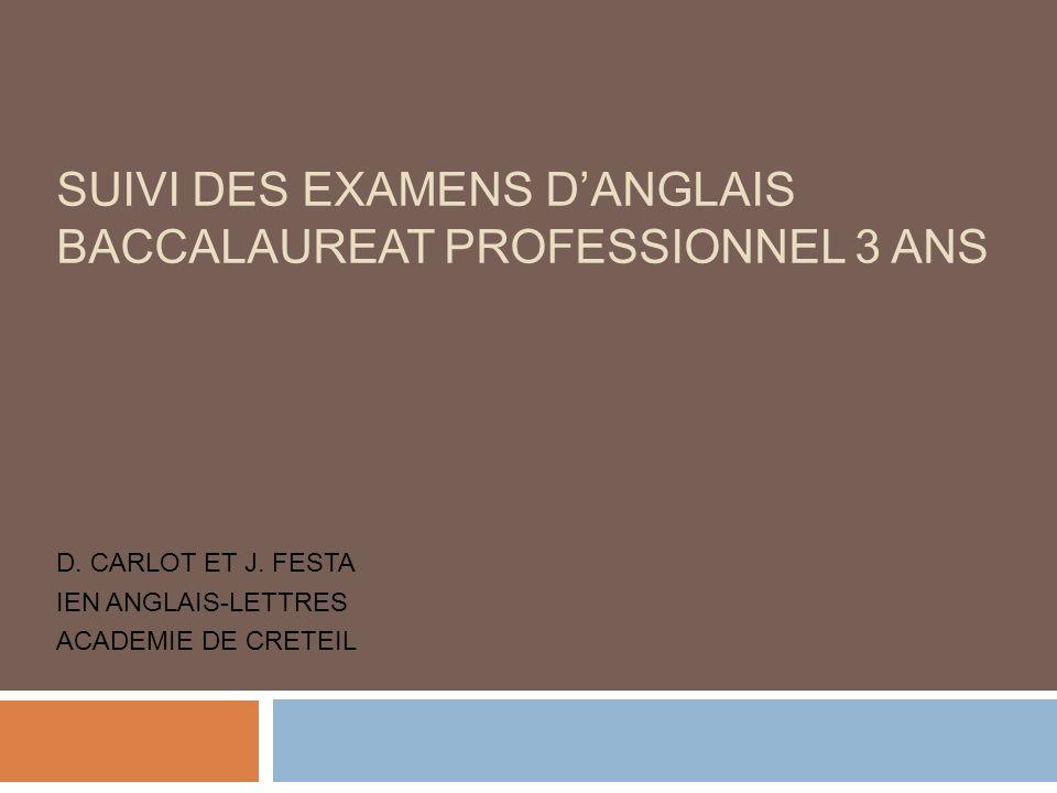 D. CARLOT ET J. FESTA IEN ANGLAIS-LETTRES ACADEMIE DE CRETEIL SUIVI DES EXAMENS DANGLAIS BACCALAUREAT PROFESSIONNEL 3 ANS