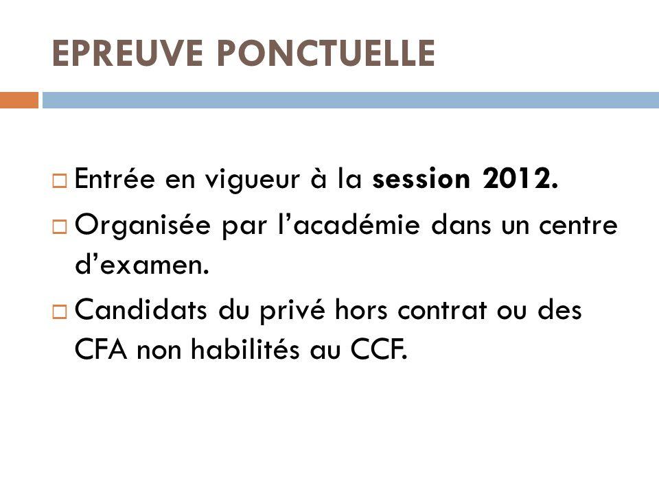 EPREUVE PONCTUELLE Entrée en vigueur à la session 2012. Organisée par lacadémie dans un centre dexamen. Candidats du privé hors contrat ou des CFA non
