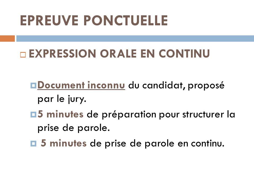 EPREUVE PONCTUELLE EXPRESSION ORALE EN CONTINU Document inconnu du candidat, proposé par le jury. 5 minutes de préparation pour structurer la prise de