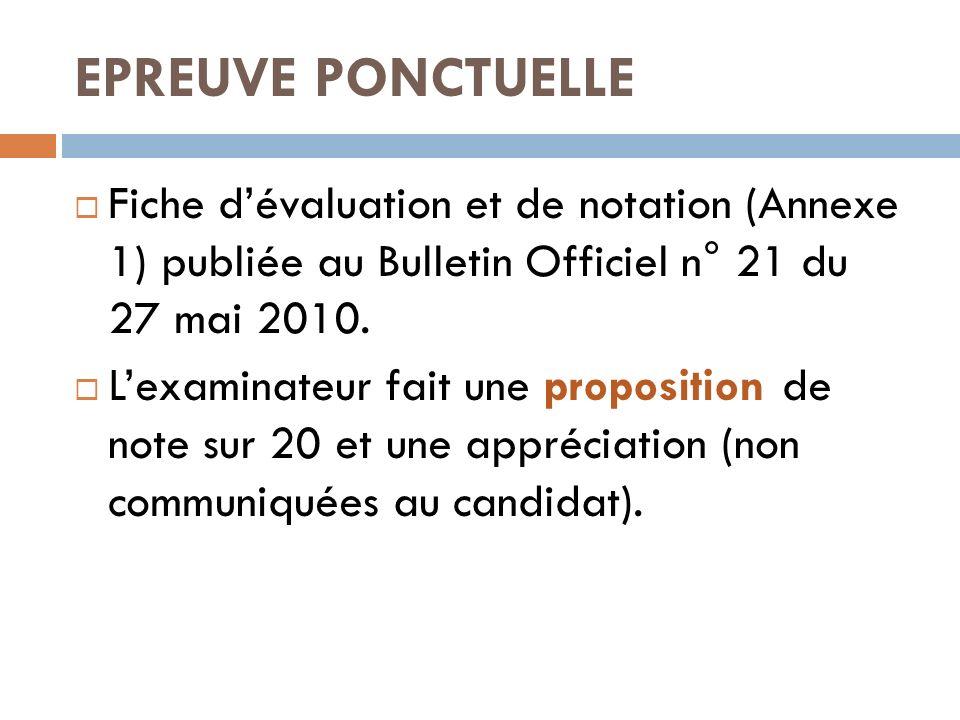 EPREUVE PONCTUELLE Fiche dévaluation et de notation (Annexe 1) publiée au Bulletin Officiel n° 21 du 27 mai 2010. Lexaminateur fait une proposition de