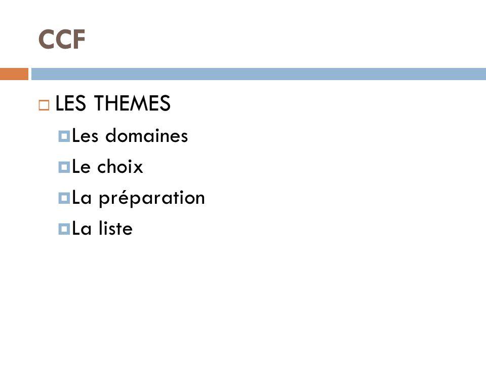 CCF LES THEMES Les domaines Le choix La préparation La liste
