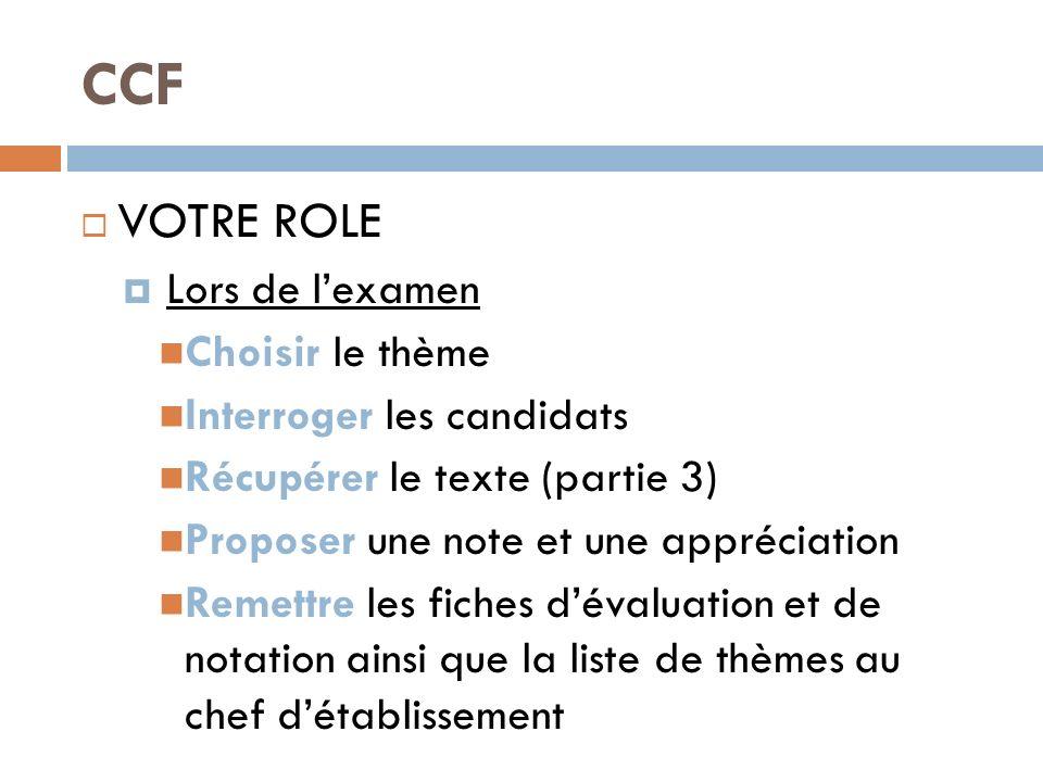 CCF VOTRE ROLE Lors de lexamen Choisir le thème Interroger les candidats Récupérer le texte (partie 3) Proposer une note et une appréciation Remettre