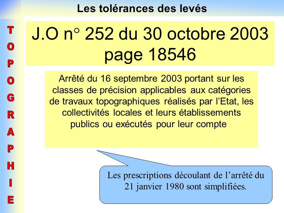 Les tolérances des levés J.O n° 252 du 30 octobre 2003 page 18546 Arrêté du 16 septembre 2003 portant sur les classes de précision applicables aux cat