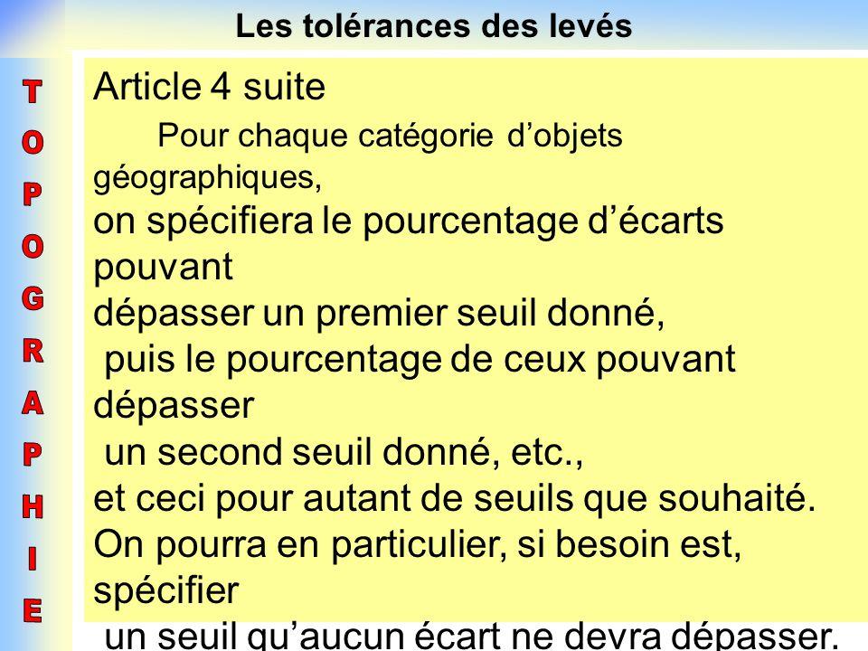 Les tolérances des levés Article 4 suite Pour chaque catégorie dobjets géographiques, on spécifiera le pourcentage décarts pouvant dépasser un premier