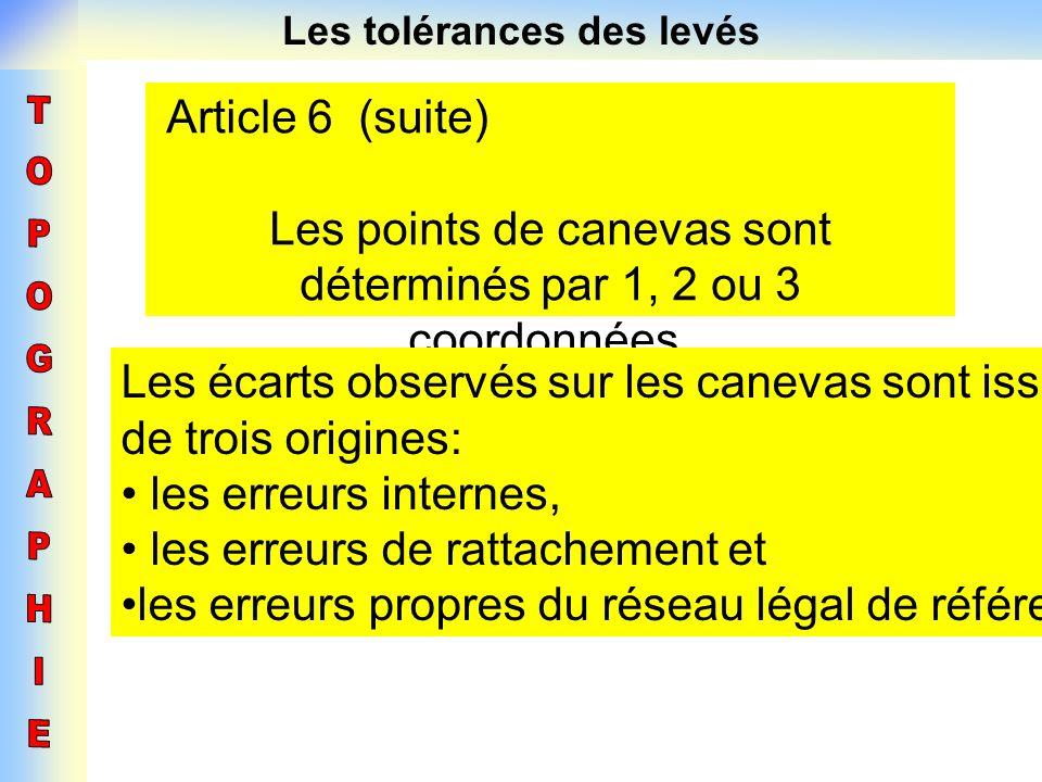 Les tolérances des levés Article 6 (suite) Les points de canevas sont déterminés par 1, 2 ou 3 coordonnées. Les écarts observés sur les canevas sont i