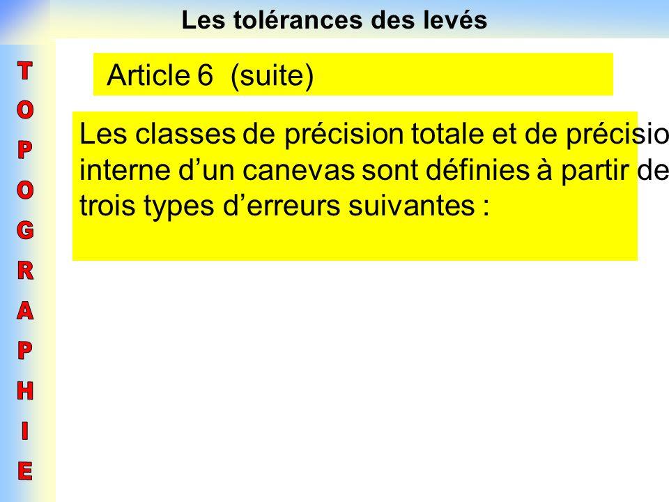 Les tolérances des levés Article 6 (suite) Les classes de précision totale et de précision interne dun canevas sont définies à partir des trois types