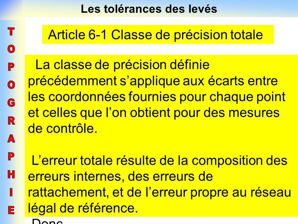 Les tolérances des levés Article 6-1 Classe de précision totale La classe de précision définie précédemment sapplique aux écarts entre les coordonnées